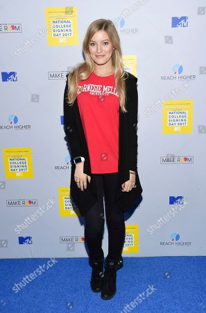 Stock Picture of Internet celebrity Justine Ezarik aka iJustine attends MTV's 2017 National College Signing Day at The Public Theater, in New York