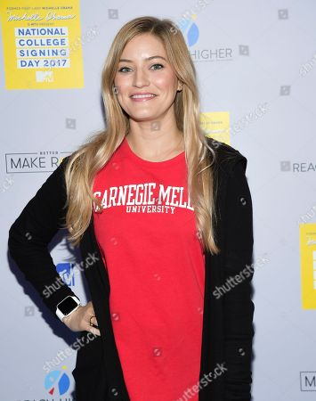 Stock Image of Internet celebrity Justine Ezarik aka iJustine attends MTV's 2017 National College Signing Day at The Public Theater, in New York