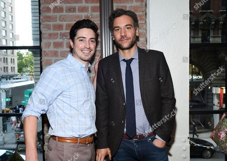 Actor Ben Feldman, left, and Josh Radnor attend the NBC Summer Talent Cocktail Party at 1 Hotel Central Park, in New York