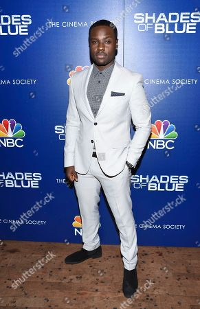 "Dayo Okeniyi attends the ""Shades of Blue"" season two premiere, hosted by NBC and The Cinema Society, at The Roxy Cinema, in New York"