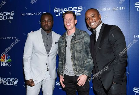 "Actors Dayo Okeniyi, left, Warren Kole and Hampton Fluker attend the ""Shades of Blue"" season two premiere, hosted by NBC and The Cinema Society, at The Roxy Cinema, in New York"