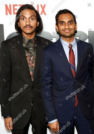 """Aniz Ansari, left, and Aziz Ansari pose together at Netflix's """"Master of None"""" season two premiere at the SVA Theatre, in New York"""