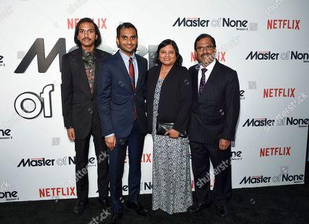 "The Ansari family, from left Aniz Ansari, Aziz Ansari, Fatima Ansari and Shoukath Ansari pose together at Netflix's ""Master of None"" season two premiere at the SVA Theatre, in New York"