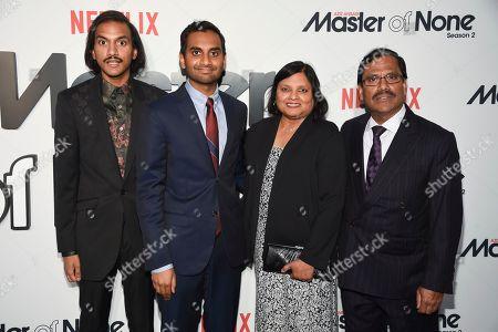 "The Ansari family, from left, Aniz Ansari, Aziz Ansari, Fatima Ansari and Shoukath Ansari pose together at Netflix's ""Master of None"" season two premiere at the SVA Theatre, in New York"