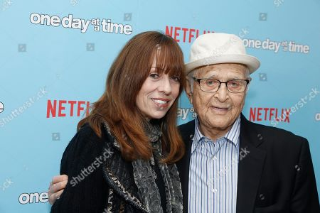 """Mackenzie Phillips and Executive Producer Norman Lear seen at Netflix """"One Day at a Time"""" S1 Premiere at The London West Hollywood, in West Hollywood, Calif"""