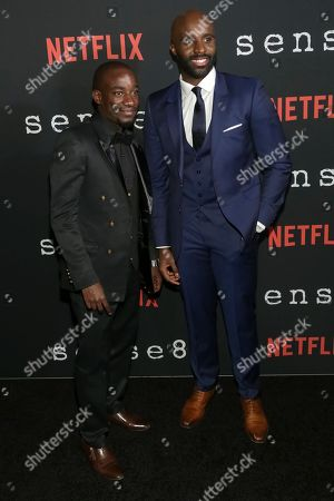 """Actors Paul Ogola, left, and Toby Onwumere attend the Netflix """"Sense8"""" Season 2 premiere at AMC Loews Lincoln Square, in New York"""