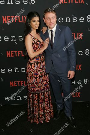 """Actress Tina Desai, left, and Actor Max Riemelt attend the Netflix """"Sense8"""" Season 2 premiere at AMC Loews Lincoln Square, in New York"""