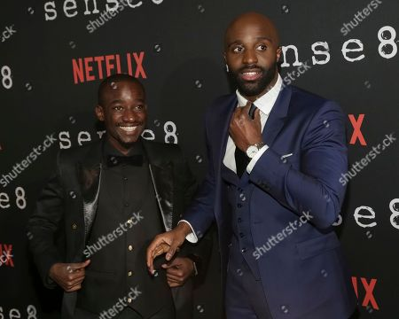 """Stock Photo of Actors Paul Ogola, left, and Toby Onwumere attend the Netflix """"Sense8"""" Season 2 premiere at AMC Loews Lincoln Square, in New York"""