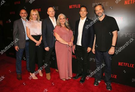 Victor Fresco, Chelsea Handler, Bill Burr, Marta Kauffman, Alan Yang and Judd Apatow seen at the Netflix Comedy FYSee panel Q&A at the FYSee exhibit space, in Los Angeles