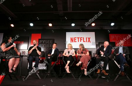 Jenelle Riley, Judd Apatow, Alan Yang, Chelsea Handler, Marta Kauffman, Bill Burr and Victor Fresco seen at the Netflix Comedy FYSee panel Q&A at the FYSee exhibit space, in Los Angeles