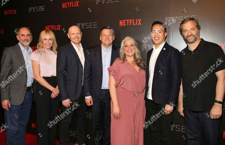 Victor Fresco, Chelsea Handler, Bill Burr, Netflix Chief Content Officer Ted Sarandos, Marta Kauffman, Alan Yang and Judd Apatow seen at the Netflix Comedy FYSee panel Q&A at the FYSee exhibit space, in Los Angeles