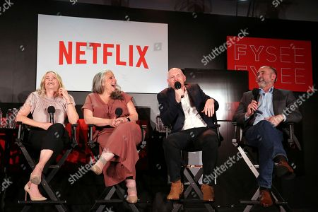 Chelsea Handler, Marta Kauffman, Bill Burr and Victor Fresco seen at the Netflix Comedy FYSee panel Q&A at the FYSee exhibit space, in Los Angeles