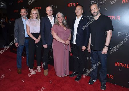 Victor Fresco, from left, Chelsea Handler, Bill Burr, Marta Kauffman, Alan Yang and Judd Apatow arrive at the Netflix Comedy Panel For Your Consideration Event at the Netflix FYSee Space, in Beverly Hills, Calif