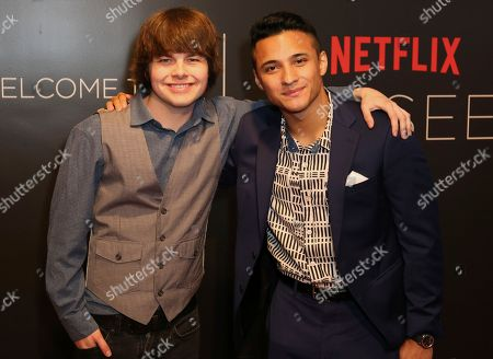 Brendan Meyer, left, and Brandon Perea arrive at the Netflix FYSee Kick-Off Event, in Beverly Hills, Calif