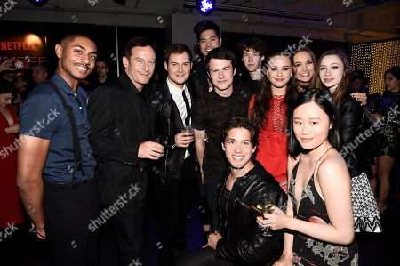 Steven Silver, Jason Isaacs, Justin Prentice, Ross Butler, Dylan Minnette, Brandon Larracuente, Devin Druid, Katherine Langford, Hannah Payne and Michele Selene Ang seen at Netflix FYSee Kickoff Event, an experiential exhibition space, bringing the best of Netflix series to life for industry and guild members leading into Emmy voting season,, in Beverly Hills, Calif