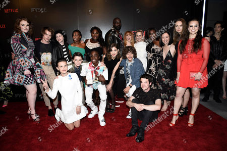 Shannon Purser, Charlie Heaton, Millie Bobby Brown, Finn Wolfhard, Noah Schnapp, Samira Wiley, Caleb McLaughlin, Danielle Brooks, Natalia Dyer, Mike Colter, Gaten Matarazzo, Natasha Lyonne, Taryn Manning, Dylan Minnette, Uzo Aduba, Michele Selene Ang, Hannah Payne and Katherine Langford seen at Netflix FYSee Kickoff Event, an experiential exhibition space, bringing the best of Netflix series to life for industry and guild members leading into Emmy voting season,, in Beverly Hills, Calif