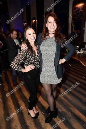 """Correspondents Emily Calandrelli, left, and Joanna Hausmann seen at the """"Bill Nye Saves the World"""" LA screening event, in Los Angeles"""