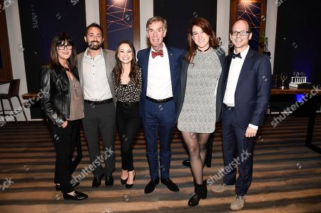 """From left to right, director, Netflix Originals Terry Wood, correspondent Derek Muller, host Bill Nye, correspondent Emily Calandrelli, correspondent Joanna Hausmann, and director, Netflix Originals Jason Spingarn-Koff seen at the """"Bill Nye Saves the World"""" LA screening event, in Los Angeles"""