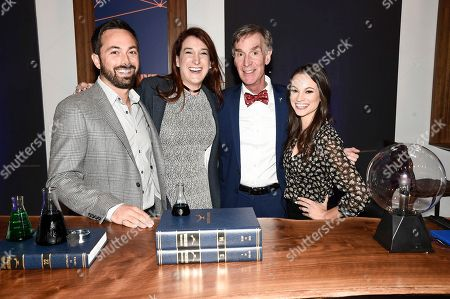 """From left to right, correspondent Derek Muller, host Bill Nye, correspondent Emily Calandrelli, and correspondent Joanna Hausmann seen at the """"Bill Nye Saves the World"""" LA screening event, in Los Angeles"""