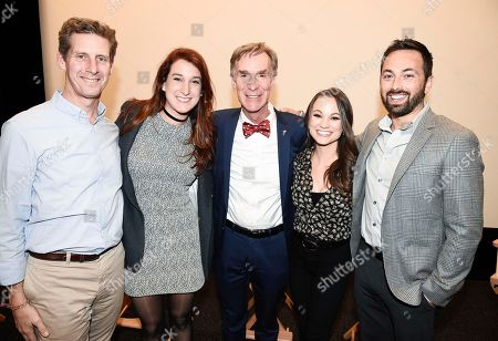 """From left to right, moderator Kai Ryssdal, correspondent Joanna Hausmann, host Bill Nye, correspondent Emily Calandrelli, and correspondent Derek Muller seen at the """"Bill Nye Saves the World"""" LA screening event, in Los Angeles"""