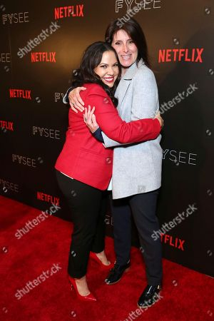 """Co-creator and executive producer Gloria Calderon Kellett and director Pamela Fryman seen at the Netflix original series """"One Day at a Time"""" FYC Panel at the FYSee exhibit space, in Los Angeles"""