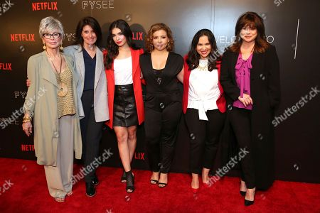 """Stock Picture of Rita Moreno, director Pamela Fryman, Isabella Gomez, Justina Machado, co-creator and executive producer Gloria Calderon Kellett and Valerie Bertinelli seen at the Netflix original series """"One Day at a Time"""" FYC Panel at the FYSee exhibit space, in Los Angeles"""