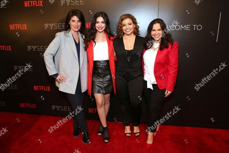 """Director Pamela Fryman, Isabella Gomez, Justina Machado and co-creator and executive producer Gloria Calderon Kellett seen at the Netflix original series """"One Day at a Time"""" FYC Panel at the FYSee exhibit space, in Los Angeles"""