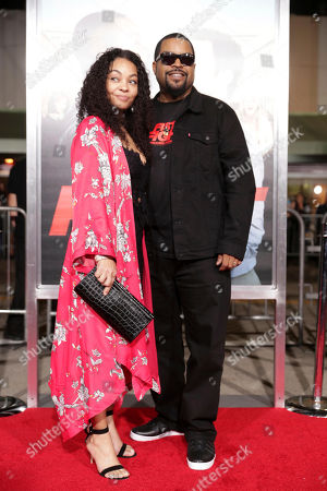 "Kimberly Woodruff and Executive Producer/Actor Ice Cube seen at New Line Cinema Presents the World Premiere of ""Fist Fight"" at Regency Village Theatre, in Los Angeles"