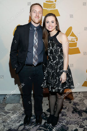 Justin Moses and Sierra Hull arrive at the nominee party for the 59th Annual Grammy Awards at Loews Vanderbilt Hotel, in Nashville, Tenn