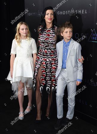 """Model Liberty Ross poses with her children Skyla Sanders, left, and Tennyson Sanders at the premiere of """"Ghost in the Shell"""" at AMC Loews Lincoln Square, in New York"""