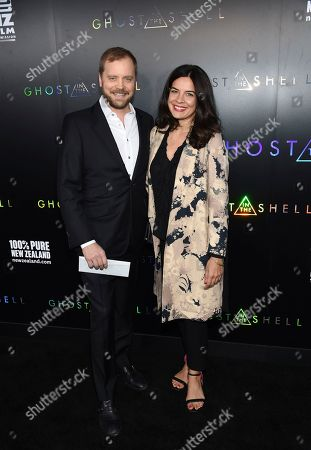 """Zuleikha Robinson, right, and guest attend the premiere of """"Ghost in the Shell"""" at AMC Loews Lincoln Square, in New York"""