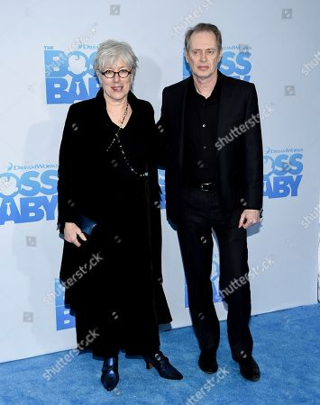 """Actor Steve Buscemi and wife Jo Andres attend the premiere of """"The Boss Baby"""" at AMC Loews Lincoln Square, in New York"""