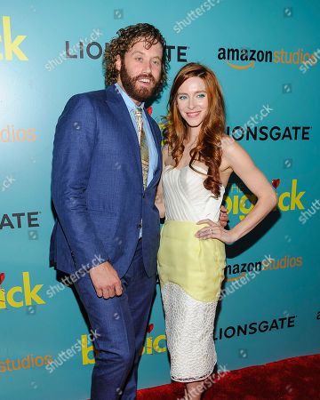"""T.J. Miller, left, and Kate Gorney attend the premiere of Amazon Studios' """"The Big Sick"""" at Landmark Sunshine Cinema, in New York"""
