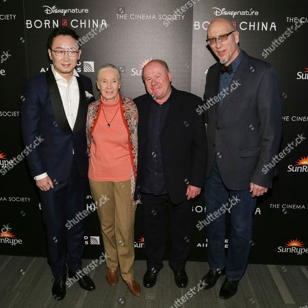 "Director Lu Chuan, left, Dr. Jane Goodall, producers Brian Leith and Roy Conli attend the premiere for Disneynature's ""Born in China"" at the Landmark Sunshine Cinema, in New York"