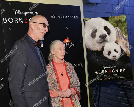 "Producer Roy Conli, left, and Dr. Jane Goodall attend the premiere for Disneynature's ""Born in China"" at the Landmark Sunshine Cinema, in New York"