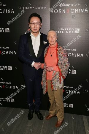 "Director Lu Chuan, left, and Dr. Jane Goodall attend the premiere for Disneynature's ""Born in China"" at the Landmark Sunshine Cinema, in New York"