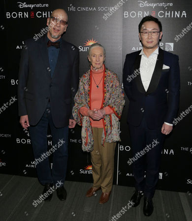 "Producer Roy Conli, left, Dr. Jane Goodall and director Lu Chuan attend the premiere for Disneynature's ""Born in China"" at the Landmark Sunshine Cinema, in New York"