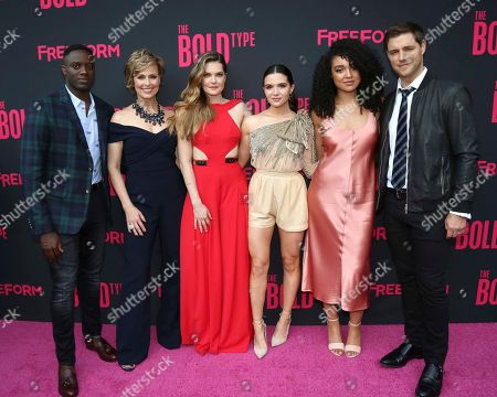 """Matt Ward, from left, Melora Hardin, Meghann Fahy, Katie Stevens, Aisha Dee and Sam Page attend the premiere screening of Freeform's Original Series, """"The Bold Type"""", at The Roxy Hotel, in New York"""