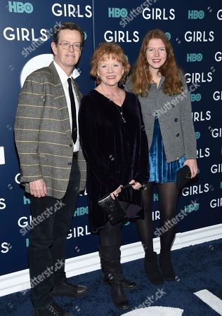 """Dylan Baker, left, wife Becky Ann Baker and daughter Willa Baker attend the premiere of HBO's """"Girls"""" sixth and final season at Alice Tully Hall, in New York"""