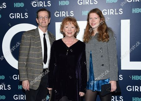 """Stock Image of Dylan Baker, left, wife Becky Ann Baker and daughter Willa Baker attend the premiere of HBO's """"Girls"""" sixth and final season at Alice Tully Hall, in New York"""