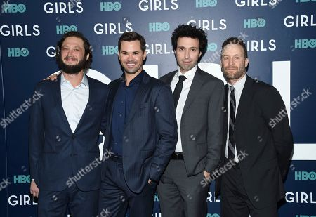 """Actors Ebon Moss-Bachrach, left, Andrew Rannells, Alex Karpovsky and Jon Glaser attend the premiere of HBO's """"Girls"""" sixth and final season at Alice Tully Hall, in New York"""