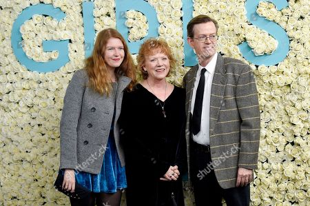 """Willa Baker, left, Becky Ann Baker and Dylan Baker attend the premiere of HBO's """"Girls"""" sixth and final season at Alice Tully Hall, in New York"""