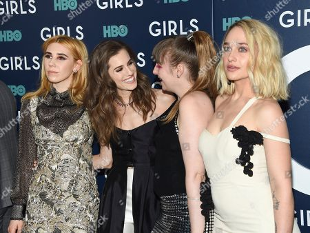 "Actresses Zosia Mamet, left, Allison Williams, Lena Dunham and Jemima Kirke pose together at HBO's ""Girls"" sixth and final season premiere at Alice Tully Hall, in New York"