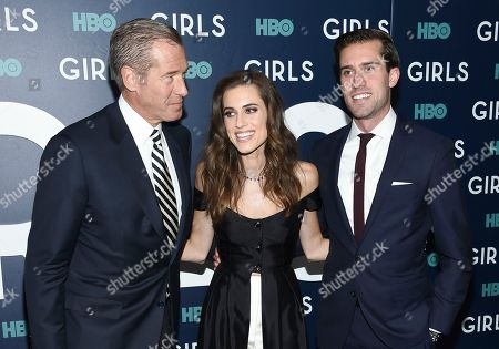 "MSNBC news anchor Brian Williams, left, his daughter, actress Allison Williams and son Douglas Williams attend the premiere of HBO's ""Girls"" sixth and final season at Alice Tully Hall, in New York"