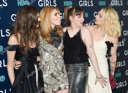 "Actresses Allison Williams, left, Zosia Mamet, Lena Dunham and Jemima Kirke pose together at HBO's ""Girls"" sixth and final season premiere at Alice Tully Hall, in New York"