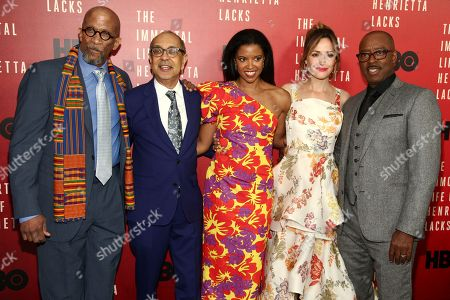"""Reg E. Cathey, from left, George C. Wolfe, Renee Elise Goldsberry, Rose Byrne and Courtney B. Vance attend the premiere of HBO Films' """"The Immortal Life of Henrietta Lacks"""" at the SVA Theatre, in New York"""