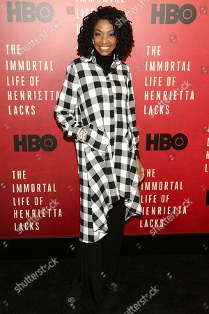 """Adriane Lenox attends the premiere of HBO Films' """"The Immortal Life of Henrietta Lacks"""" at the SVA Theatre, in New York"""