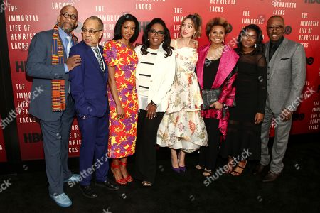 """Reg E. Cathey, from left, George C. Wolfe, Renee Elise Goldsberry, Oprah Winfrey, Rose Byrne, Leslie Uggams, Kyanna Simpson and Courtney B. Vance attend the premiere of HBO Films' """"The Immortal Life of Henrietta Lacks"""" at the SVA Theatre, in New York"""