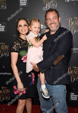 "Trey Parker, left, and Boogie Tillmon and their daughter attend a special screening of Disney's ""Beauty and the Beast"" at Alice Tully Hall, in New York"