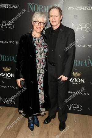 """Jo Andres, left, and Steve Buscemi, right, attend a special screening of Sony Pictures Classics' """"Norman"""", hosted by The Cinema Society, at The Whitby Hotel, in New York"""
